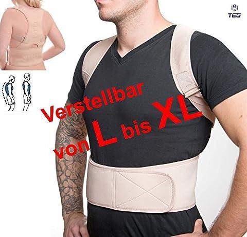 LTEG533 - für T-Shirt Größe L+ bis XL - orthopädischer GERADEHALTER zur Haltungskorrektur RÜCKENBANDAGE für die perfekte Rücken Haltung hochwertiges NEOPRENE verstellbare Träger und 12 Magnete