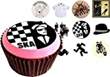 Ska (two tone) 12(of) 38mm (1.5 Inch) PRE-CUT Cake Toppers Edible Rice Paper Cupcake Decoration (Music)