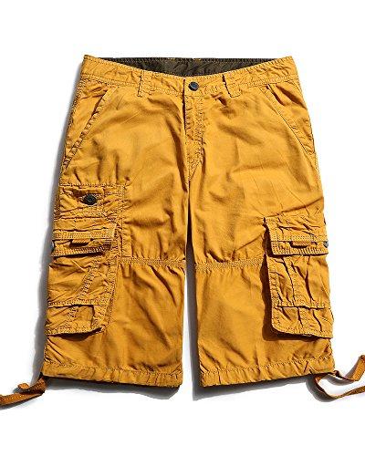 Herren Cargo Shorts Cargohose kurze Hose Loose Fit aus Baumwolle Hosentasche Overall #3288 Soil Yellow