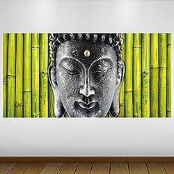 EXTRA GRANDE Gris Verde del bambú de Buda Religión Vinilo Póster - Mural Decoración - etiqueta de la pared -140cm x 70cm