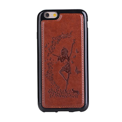 Abnehmbare 2 in 1 Crazy Horse Texture PU Ledertasche, Fairy Girl Embossed Pattern Flip Stand Case Tasche mit Lanyard & Card Cash Slots für iPhone 6 Plus & 6s Plus ( Color : Rosegold ) Brown