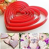 Hilai, confezione di stampi in plastica a forma di cuore, per la decorazione di torte e biscotti e per la pasta da zucchero, 6 pezzi