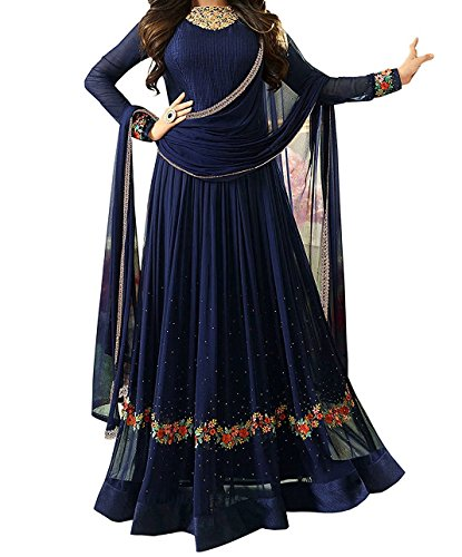 Ethnic Yard Women's Faux Georgette Dress Material (F1163_Free Size_Blue)