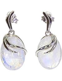 Rainbow moonstone sterling silver drop earrings - Stone size 9x12mm
