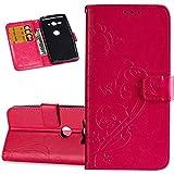 ISAKEN Hülle für Sony Xperia XZ2 Compact, PU Leder Flip Cover Geldbörse Handyhülle Tasche Case Schutzhülle Hülle Etui mit Handschlaufe Strap für Sony Xperia XZ2 Compact - Blume Schmetterling Rosa