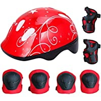Fansport 7PCS Equipo de Protección Para Niños Equipo de Protección de Ciclismo Casco de Skate Deportivo Con Almohadillas de MuñEca de Codo de Rodilla