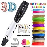3D Stifte + PLA 16 Farben - 3D Stifte Set für Kinder mit PLA Farben 160 Fuß, Tipeye 06A 3D Pen als kreatives Geschenk für Erwachsene, Bastler zu kritzeleien, basteln, malen und 3D drücken