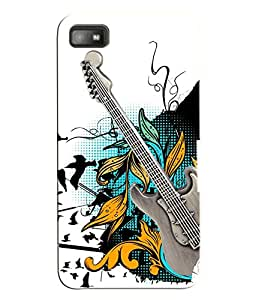 Fuson 3D Printed Guitar Designer Back Case Cover for Blackberry Z10 - D849