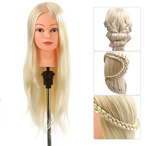 Anself Maniquí de cabeza de cabello largo,30% 66cm pelo humano,color amarillo claro(con soporte),para aprendizaje prácticas de peluquerías