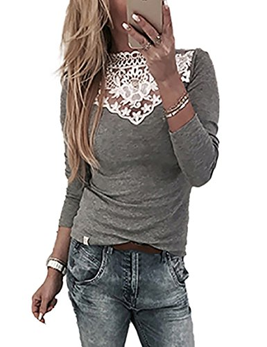 Damen Abend-shirt (Boutiquefeel Damen Lace Splicing Langarm Patchwork T-Shirt Tunic Bluse Oberteile Grau XL)