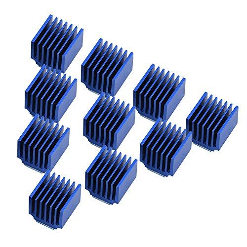 Garsent 10 Piezas pequeño Mini disipador de Calor, Motor Paso a Paso de Aluminio disipador de Calor Aleta de refrigeración con Pegamento Trasero para Impresora 3D