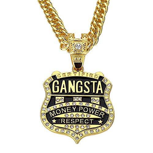 Gangsta Rap Kostüm - Personalisierte Abzeichen Anhänger Halskette Glänzende Kristall Schmuck Trendige Hip Hop Gangsta Rap Halskette Männer