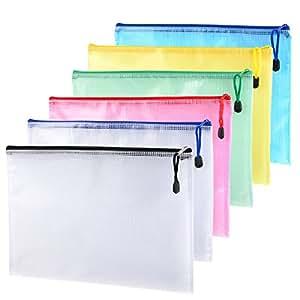 6 Stück A4 Größe Mesh Dokumenten Tasche Taschen Aktenhülle Aktenordner Ordnungsmappe Zip-Datei Tasche mit Reißverschluss für Kosmetik Büros Supplies Reise-Accessoires, 6 Farben
