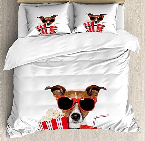 Kino 3 PCS Bettbezug-Set, lustiger Hund mit Sonnenbrille einen Film mit Popcorn und Soda Print, Bettwäsche-Set Tagesdecke für Kinder/Jugendliche/Erwachsene/Kinder, Multicolor