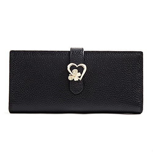 ZQ Brieftasche Weibliche Lange Absatz Japan und Südkorea Damen Leder Litchi Muster Schnalle Verschluss Handtasche Halter Einfarbig Kupplung (Geldbörse Verschluss-kupplung)
