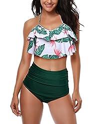 082b83d757 AMAGGIGO Maillot de Bain pour Les Femmes Taille Haute Halter Vintage Push  Up Bikini Ensemble Dames