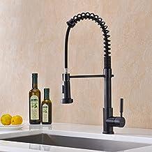GICASA 360 ° unidad de rotación palanca desmontable cocina negro grifo del fregadero grifo de agua caliente y fría