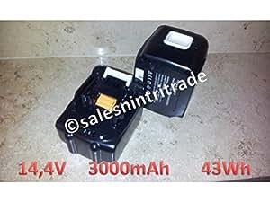 2x SalesNinTriTrade 14,4V 3000mAh Li-ion Batterie pour Makita BDA340 BDA341 BDF440 BDF441 BDF442 BDF343 BFR440 BFR540 BFS440 BHP440 BHP441 BHR162 BFR540Z BGA450Z BJV140 BML145 BMR100 BPT350Z BTD130F BTD130FW BTD130SFE BTL060Z BTP130 BTS130 BTW250 BVR340 BVR440 TD130D TD131D TD132D TW152D, compatible avec 194065-3 194066-1 BL1430