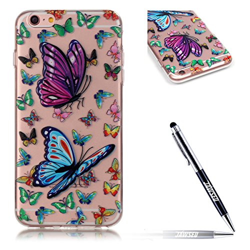 JAWSEU Coque pour iPhone 6 Plus/6S Plus 5.5,iPhone 6S Plus Silicone Etui Housse,iPhone 6 Plus Souple Coque Transparent Case TPU Cover Case,iPhone 6S Plus Housse Etui de Protection Femme Fille Relief P Une Fleur 4