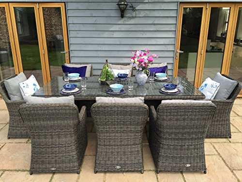 Venice Luxury Grey Rattan Garden Or Conservatory 8 Seat Rectangular Dining Fu