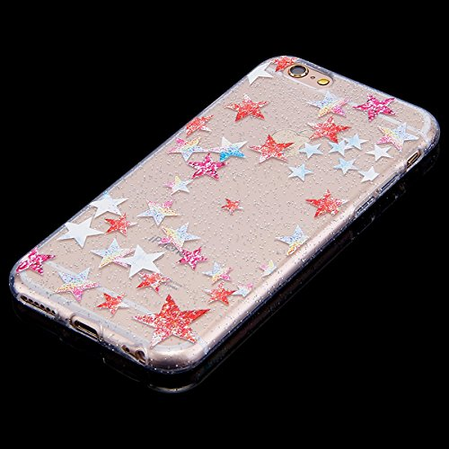 Custodia iPhone 6, iPhone 6S Cover Sottile Silicone, SainCat Cover per iPhone 6/6S Custodia Silicone Morbido, Bling Glitter Shock-Absorption Ultra Slim Transparent Silicone Case Ultra Sottile Morbida  Stelle Colorate