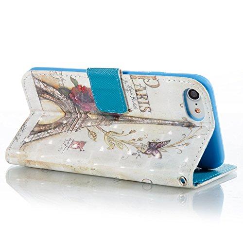 Gurt Lederhülle für iPhone 7,Premium Seil Brieftasche für iPhone 7,Funyye Stilvoll Luxuriös 3D Blume Mädchen Muster PU Leder Zubehör im Bookstyle Schale mit Ständer Standfunktion Etui Karten Slot und  Color-08