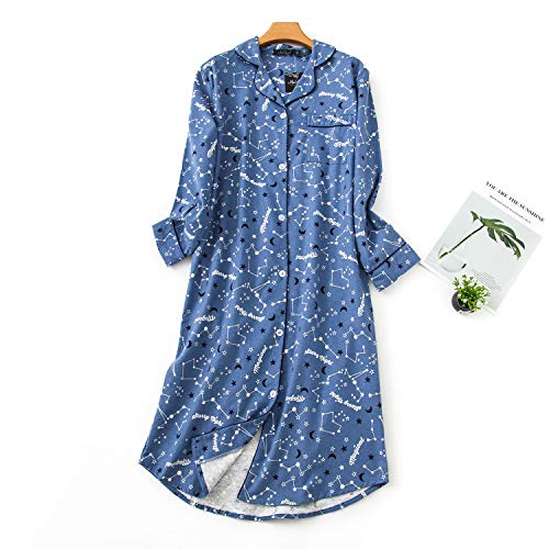 Misscoo, camicia da notte da donna con stampa di fiocchi di neve, camicia da notte in cotone per donne, ragazze, studenti, a maniche lunghe, con bottoni, pigiama invernale 14 s
