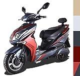 Elektroroller E-Scooter Elektro Roller E-Roller mit Straßenzulassung 45 km/h 60 Kilometer Reichweite, Rot/Schwarz