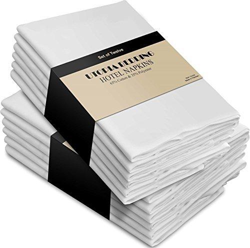 Servilletas de algodón blanco - Paquete de 12 (18 pulgadas x18 pulgad