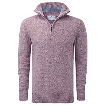 Charles Wilson Two Colour Twisted Cotton Zip Neck Jumper (Small, Red)