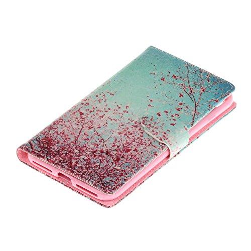 Voguecase Pour Apple iPhone 7 Plus 5,5 Coque, Étui en cuir synthétique chic avec fonction support pratique pour iPhone 7 Plus 5,5 (arbre rouge)de Gratuit stylet l'écran aléatoire universelle arbre rouge