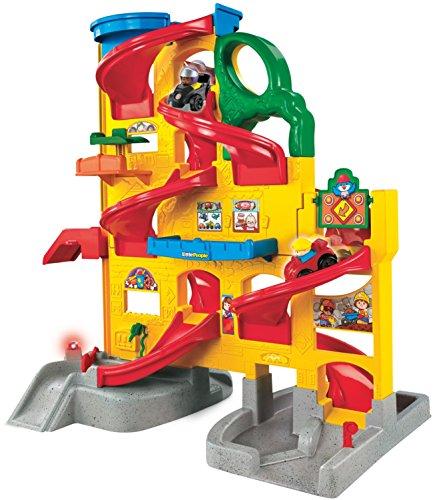Mattel Fisher-Price W2866 - Little People Große Auto-Spielbahn mit Aufzug, Tankstelle und viel Zubehör (Aufzug Auto)