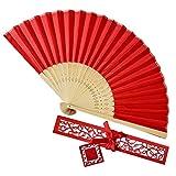 Cebbay China Ventilador de Mano Doblada,Ventiladores de Mano de Bambú Plegables,Hecho A Mano Oriental para La DecoracióN de La Pared de Bricolaje Favor de La Boda,Hombre Mujer Accesorios de Baile