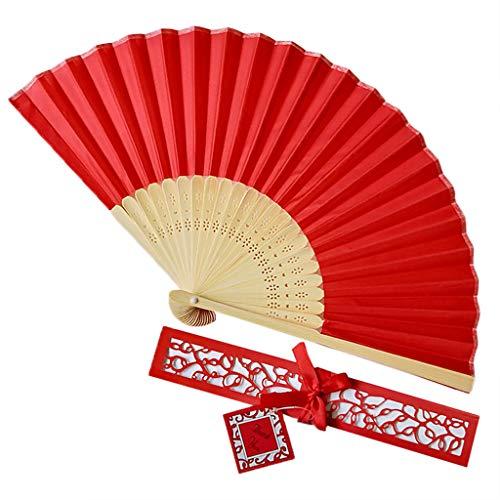 Andouy Retro Faltfächer/Handfächer/Papierfächer/Federfächer/Sandelholz Fan/Bambusfächer für Hochzeit, Party, Tanzen(21cm.Rot-B)