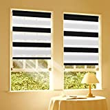 Duo Rollo Doppelrollo Klemmfix für Fenster ohne Bohren Wandmontage mit Klemmträger 40x150cm(BxH) Schwarz-Weiß