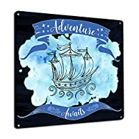 Adventure Awaits, 8x8 Inch Metal Sign, Whimsical & Inspirational Travel, Boating and Ocean Themed Wall Decor and Gifts for Kids, Teenagers, Girls, Mom, Women, Vacation Rental, Beach House, RK3148 8x8