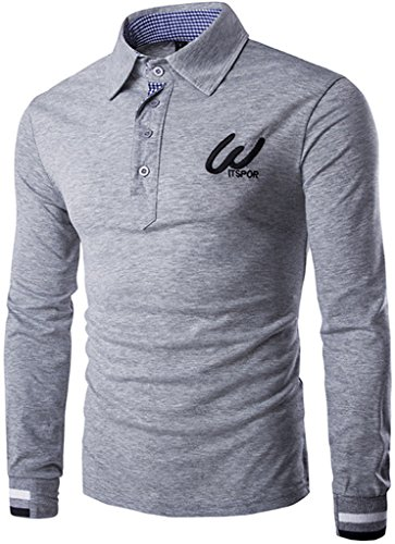 Whatlees Herren schmale Passform Langarm Polohemd mit Kontraststreifen in Versch Farben B107-Grey