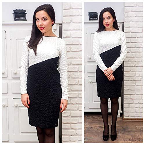 Damenmode Elegante Kostüm - Damen elegantes schwarz-weißes knielanges Kleid, langärmeliges