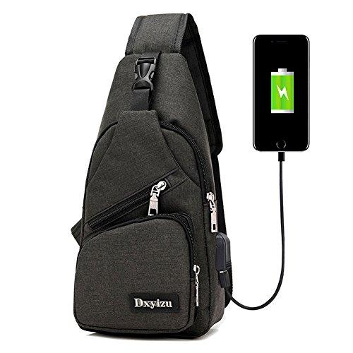 bstcentelha Sling Schulter-Umhängetasche Tasche für Herren Frauen leichter Wandern Reisen Rucksack Tagesrucksack mit USB Lade-Schnittstelle, schwarz (Body Sling Tasche)