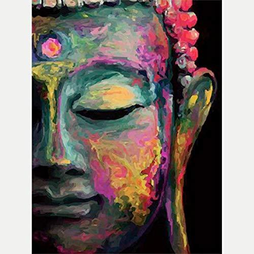 HYDWX Malen nach Zahlen für Senior Junior Anfänger Ebene, Malen nach Zahlen Set Buddha mit Pinsel Farben und Leinwand Home Decor 16X20 Zoll Rahmenlos