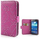 Handytasche Business Case Cover Samsung Galaxy S4 Active BOOK Etui Flip Glitzer shiny chic Fashion Blink Strass deep pink tief rosa Blumen Blumenmuster