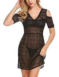 dd624637ce0264 Meaneor_Fashion_Origin Damen Sexy Spitze Negligee Nachtwäsche Reizwäsche V- Ausschnitt Babydoll Lingerie Kleid Transparent Rückenfrei…