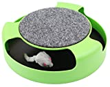 Katzenspielzeug mit Dreh Maus Kitten Spielzeug Spinning-Maus Um 360 ° drehbar mit Scratch Pad Verkratzen Klaue Pflege Mat (Grün) - 2