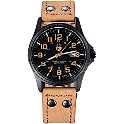 FEITONG Herrenuhr Vintage Klassische Kunstlederband Datum Sport Quarz Wasserdicht Armee Armbanduhr Khaki