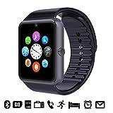 GSTEK Smarthwatch con Bluetooth Orologio Intelligente con Macchina Fotografica, SIM / TF Card Slot, Schermo touch, Contapassi, Ottimo Smartwatch per Smartphone Android (Nero)