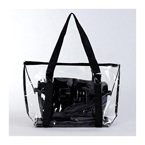 EJY Frauen Sommer neue transparente Brief SR Jelly Bag Strandtasche,Schulter Beutel Handtasche Large Bag (Schwarz) -