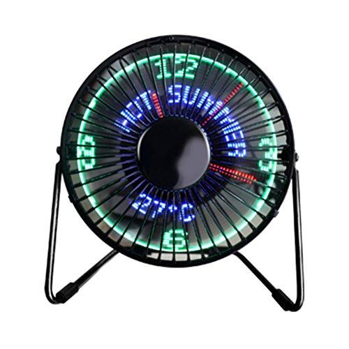 LEDMOMO Tisch-Schreibtisch-Ventilator, beweglicher Ventilator Mini-USB-Ventilator-Tischplatten-USB LED-Uhr-Ventilator-Temperatur-Anzeigen-Ventilator für Haus und Büro