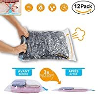 ACHATPRATIQUE 12 Travel Roll Up Space Saver Storage Bags |Roll up vacuum bag Travel Vacuum Bags For Suitcases, Holidays, Travelling | No pump Needed | 4 x Large, 4 x Medium, 4 x Small