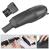 Rameng Kit d'Aspirateur Clavier Rechargeable USB Mini Avec Brosse de Nettoyage Pour PC Portable (noir)
