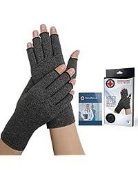 Von Ärzten Entwickelte Arthritis Kompressions-Handschuhe und von Ärzten verfasstes Handbuch (Grau, M)